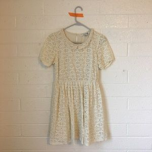 Cream lace dress with Peter Pan lace collar detail